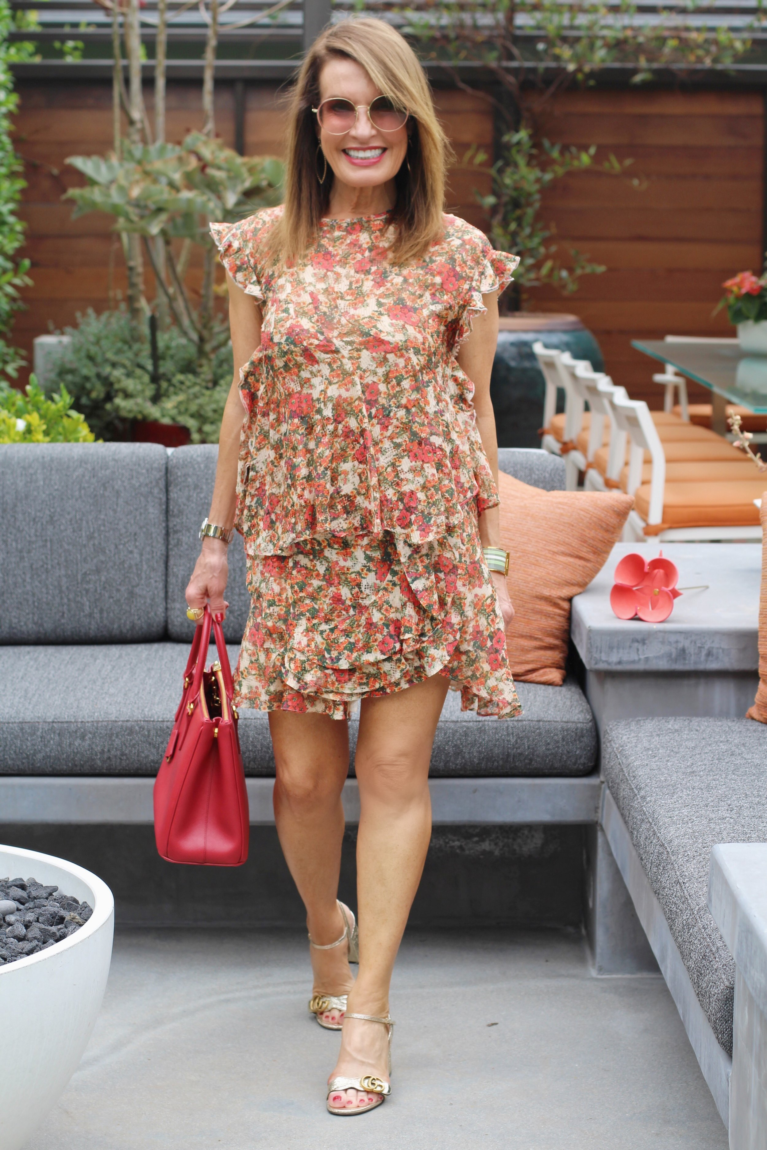 Isabel Marant top and skirt no longer available,    but similar here     ,      Gucci sandals    and    shades   ,    Prada handbag,       similar for much less here,    Hermes cuff,    Jami Lyn earrings   ,     Louis Vuitton leather flower   .