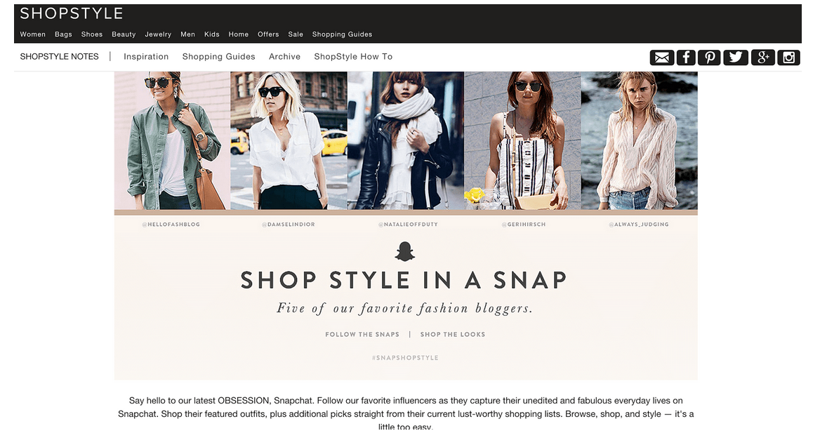 Shopstyle Snapchat influencer marketing campaign