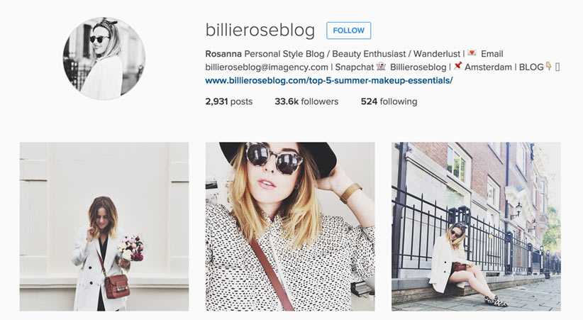Billie Rose style blogger