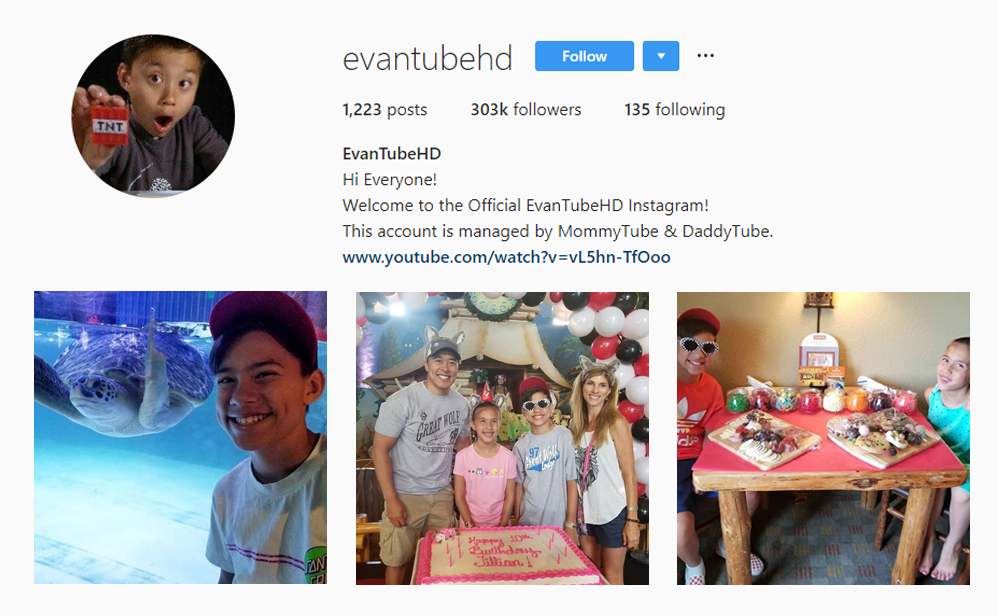 EvanTubeHD instagram - Kid Influencers Kid Vloggers