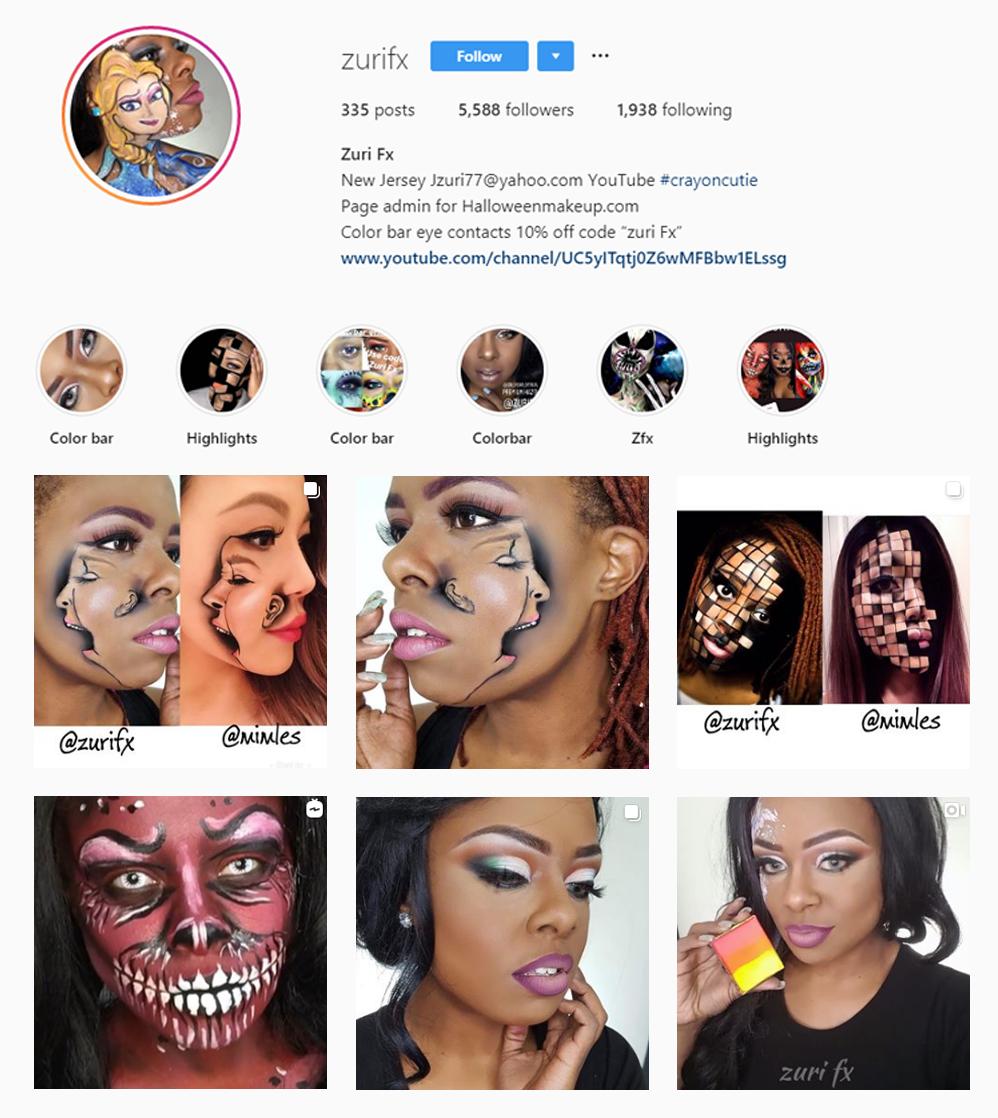 Screenshot of micro-influencer Zurifx on Instagram