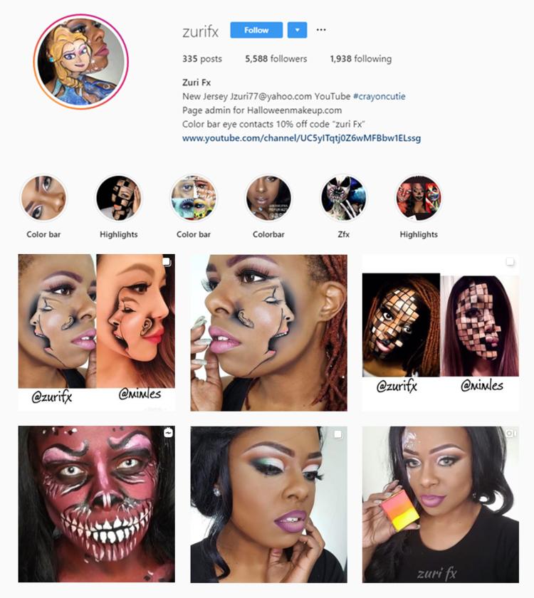 Screenshot of @Zurifx profile on Instagram.