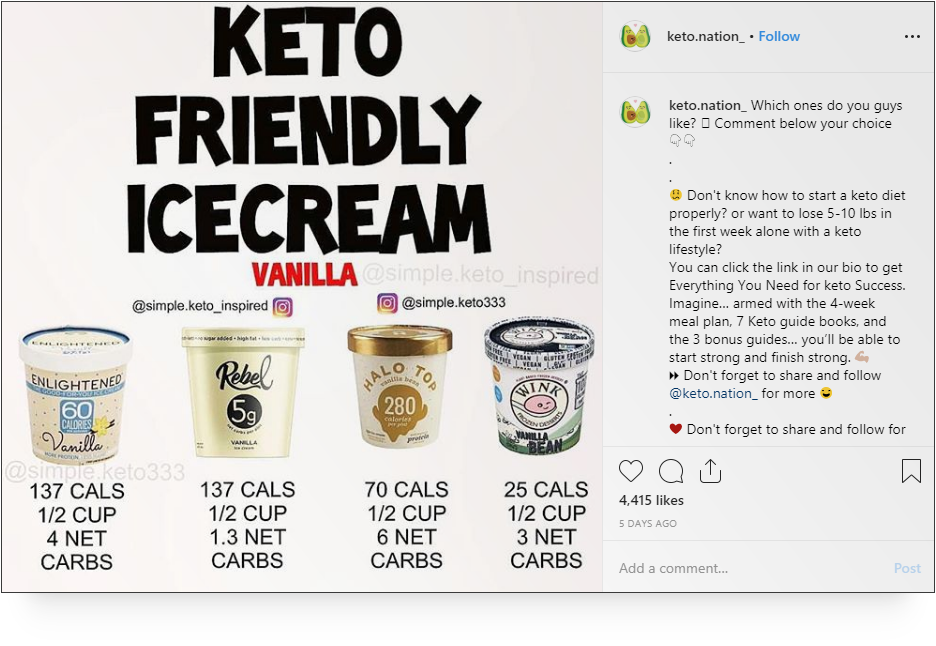 Screenshot of Keto.Nation_ on Instagram - Micro-influencers
