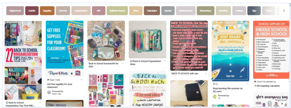 Pinterest back to school feed screenshot.png