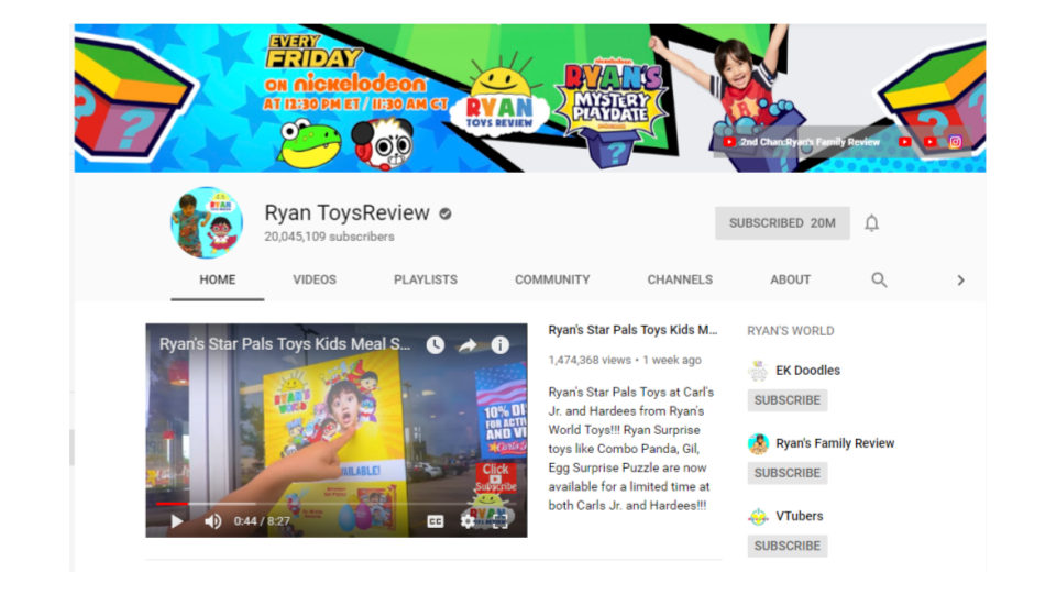Source:  Ryan ToysReview Channel on YouTube