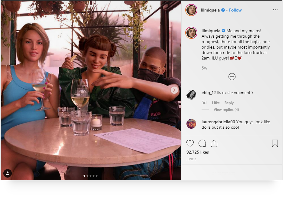 Source: This post of Miquela and her two BFFs drummed up 5.7% engagement just in    Instagram    likes.