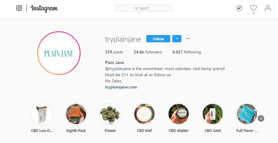 A screengrab of Plain Jane's IG account.