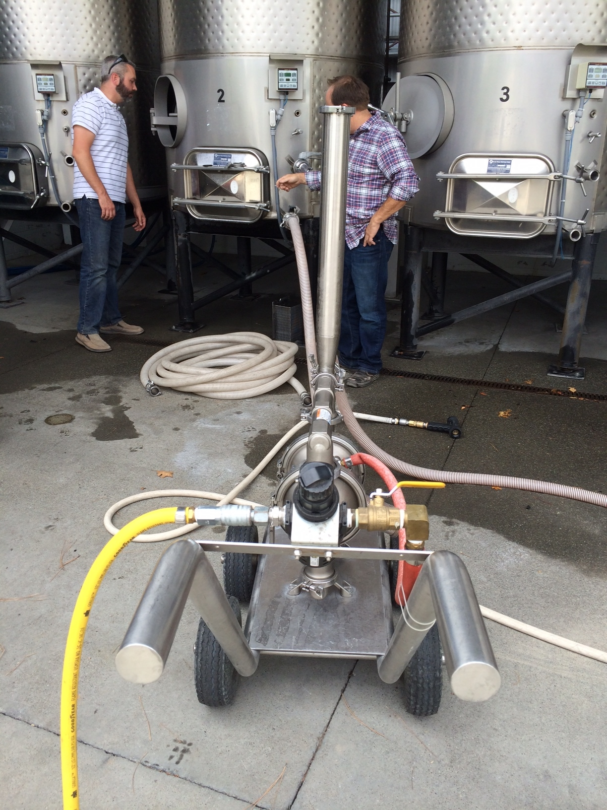 Cleaning out the fermentation tank.