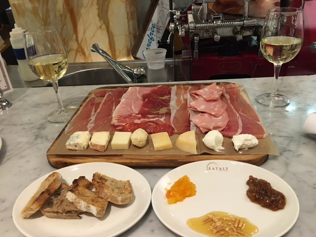 "We drowned our sorrows in cheese, charcuterie, and a little Vermentino ""Massovivo"" 2014 Tenuta dell'Ammiraglia at   Eataly  ."