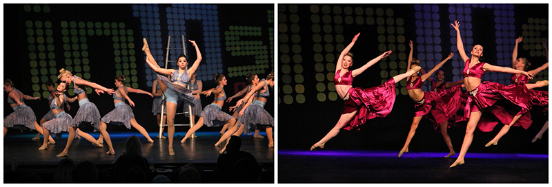 "Left:  Dancing on Broadway - Senior Lyrical Line / Production - 'Stairway to Heaven' Right:  Metropolitan Dance Alliance - Senior Large Group Lyrical -  ""I Have Nothing"""