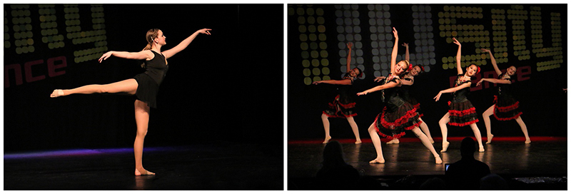 "Left:  Acclaim Studio of Dance - Adult Lyrical Solo ""To Build a Home"" Right:  Metropolitan Dance Alliance - Senior Ballet Large Group ""Tango"""