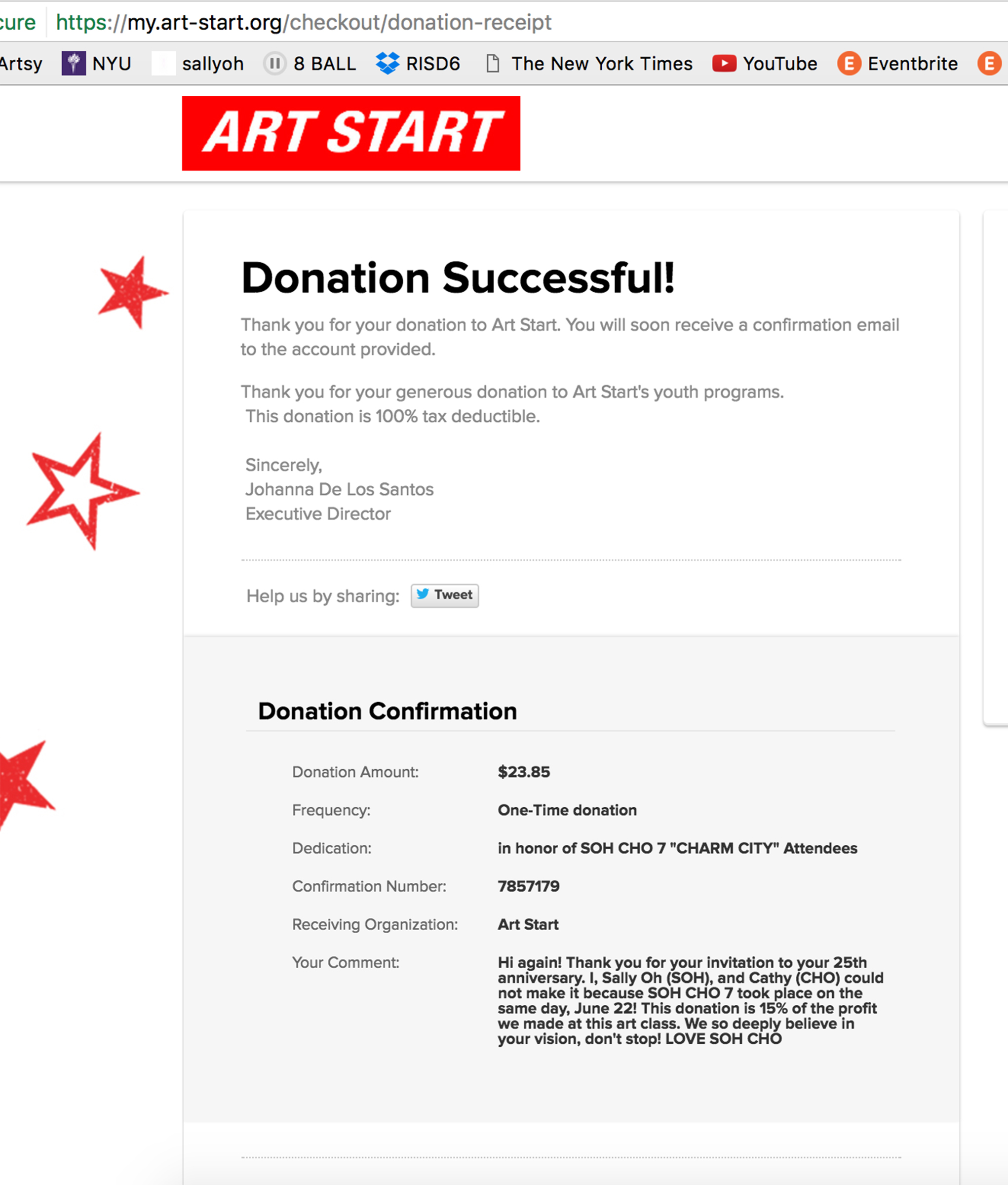 art start donation (15%)