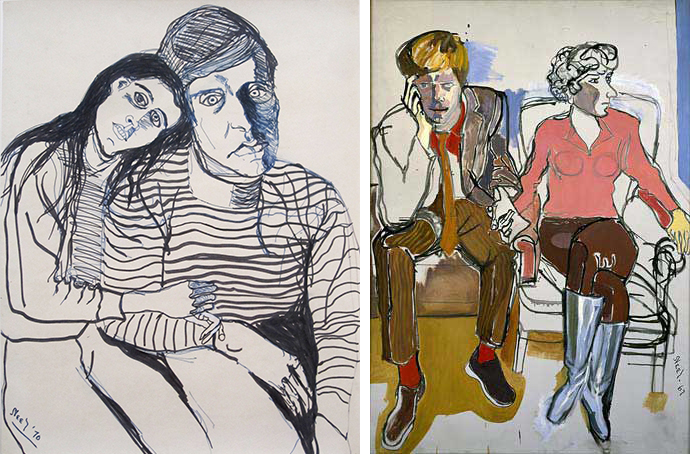 """ALICE NEEL  Red Grooms and Mimi Gross, 1967 Oil on Canvas, 60"""" x 50""""   we collaborated with U SEE ME, I SEE U 's model-muses to determine the color palette by asking for their favorite colors. the rest was dictated by this session's focal inspiration: alice neel.    mustard (kisa shiga) +plum (maricela nodar) +chili red +black"""