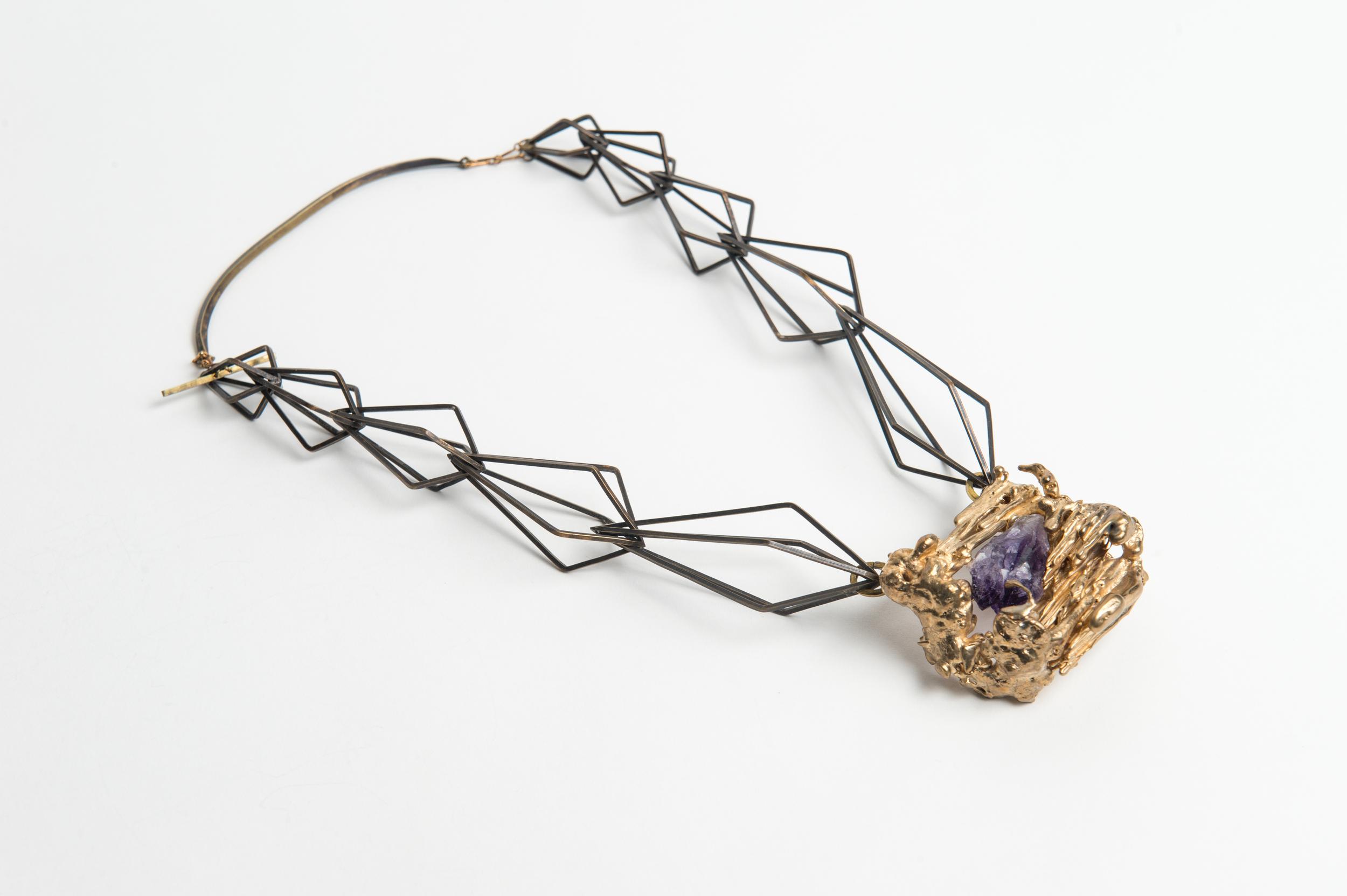 Brass wire, bronze cast, natural amethyst