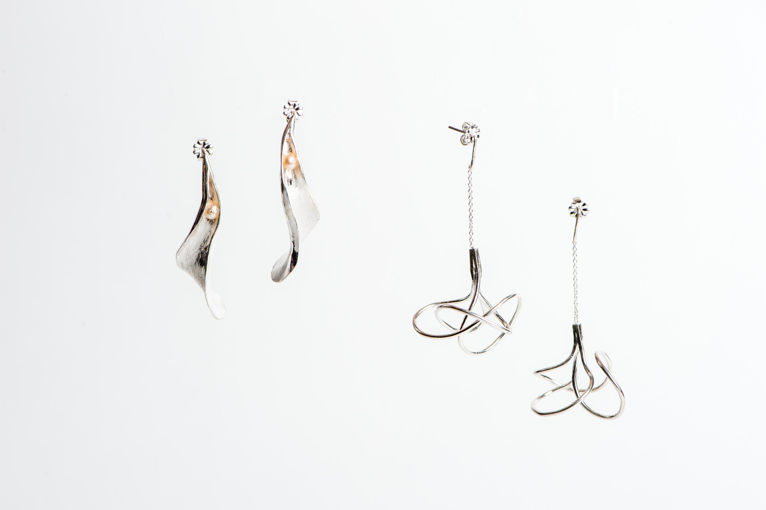 Left: Fine Silver, Freshwater Pearl, Diamond   Right: Fine Silver