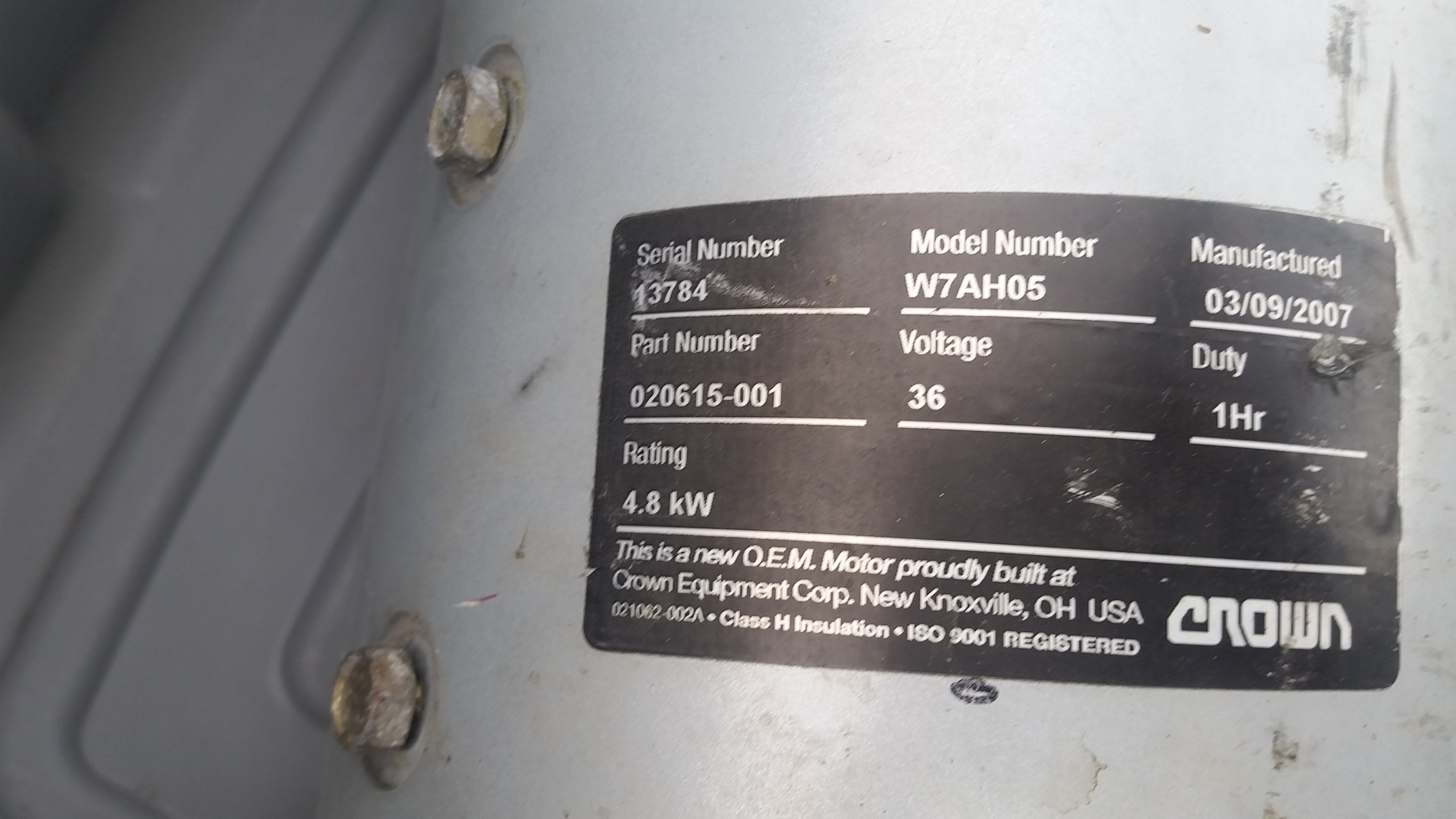 Motor Label (Click to enlarge)
