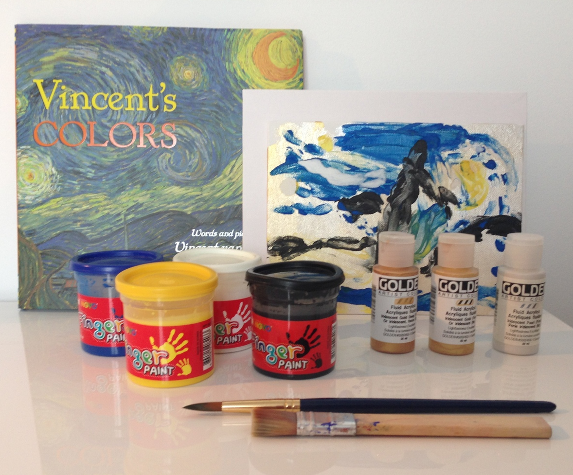 What you need: Canvas, metallic paints and paint brush, finger paints, paper towel and smock.