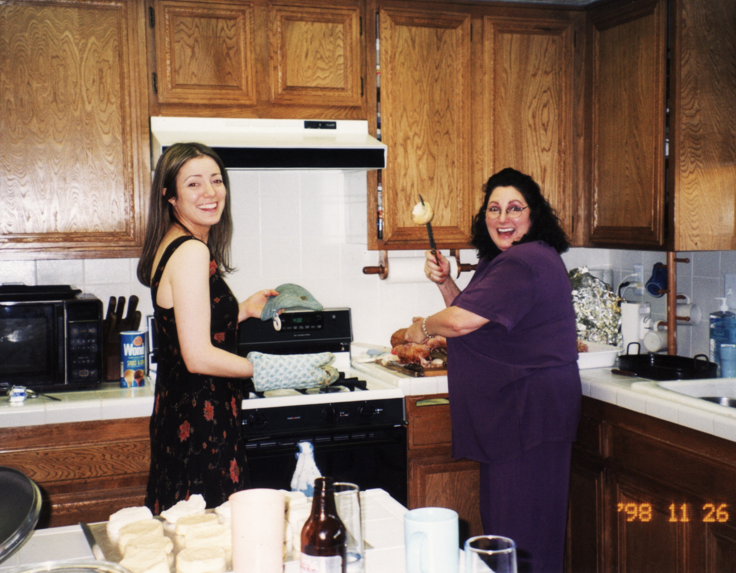 me and mom in gram's kitchen, thanksgiving 1998