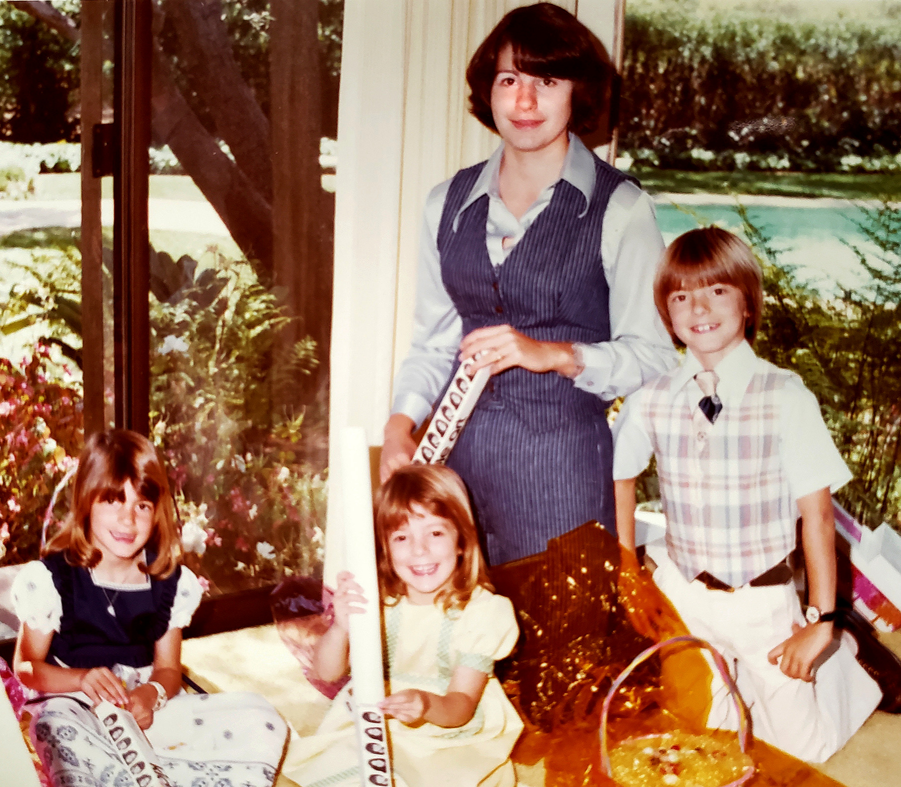 Aunt Janny with my brother, sister & me - Easter 1976