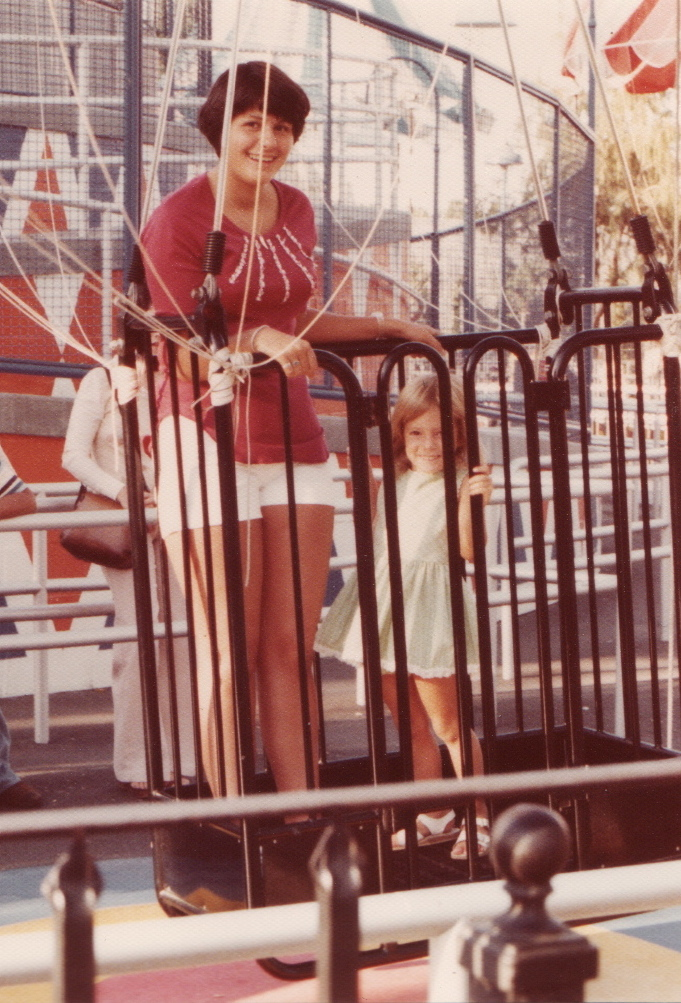 Aunt Janny & me on the Parachute Sky Jump at Knott's Berry Farm - 1976