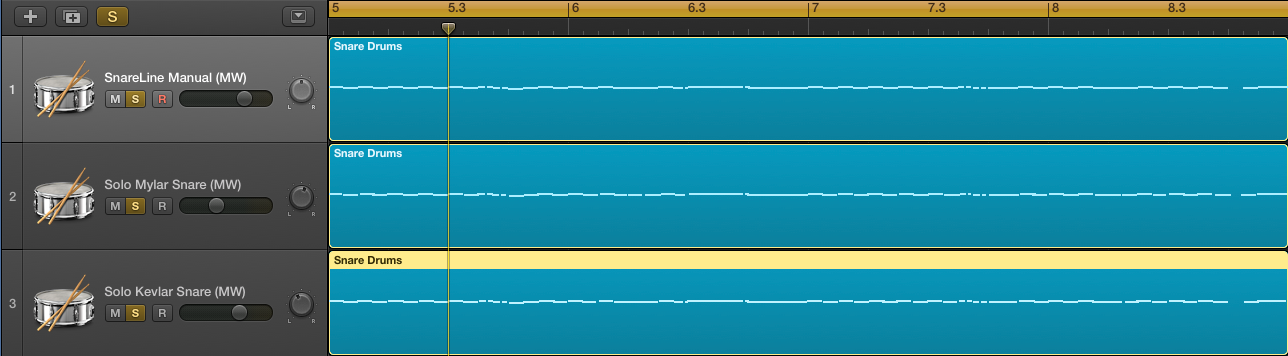 Copying the same exact MIDI data to a third track in Logic Pro, assigned to the Solo Kevlar Snare patch from Virtual Drumline.