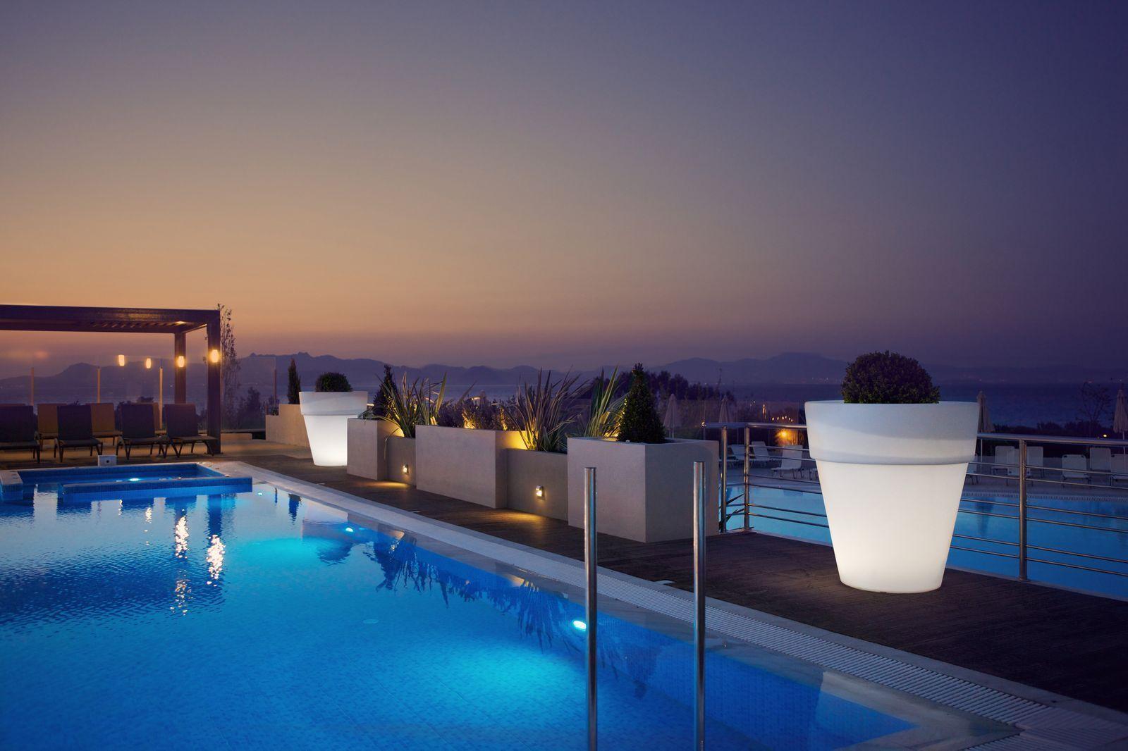 Kipriotis Panorama Suites Hotel in Kos pool by night.jpeg