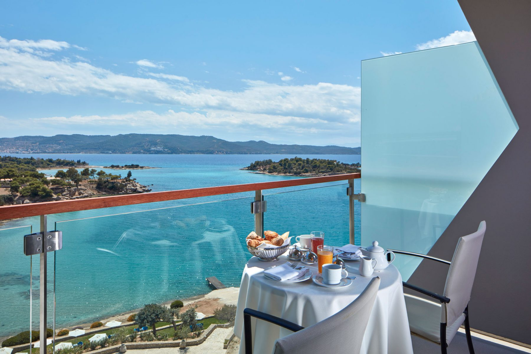 Balcony breakfast at AKS Hotels in Porto Heli