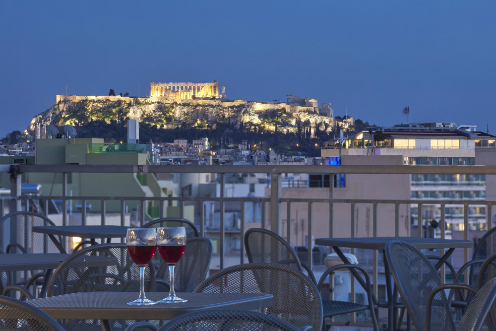 A view of the Acropolis from the Best Western Candia Athens