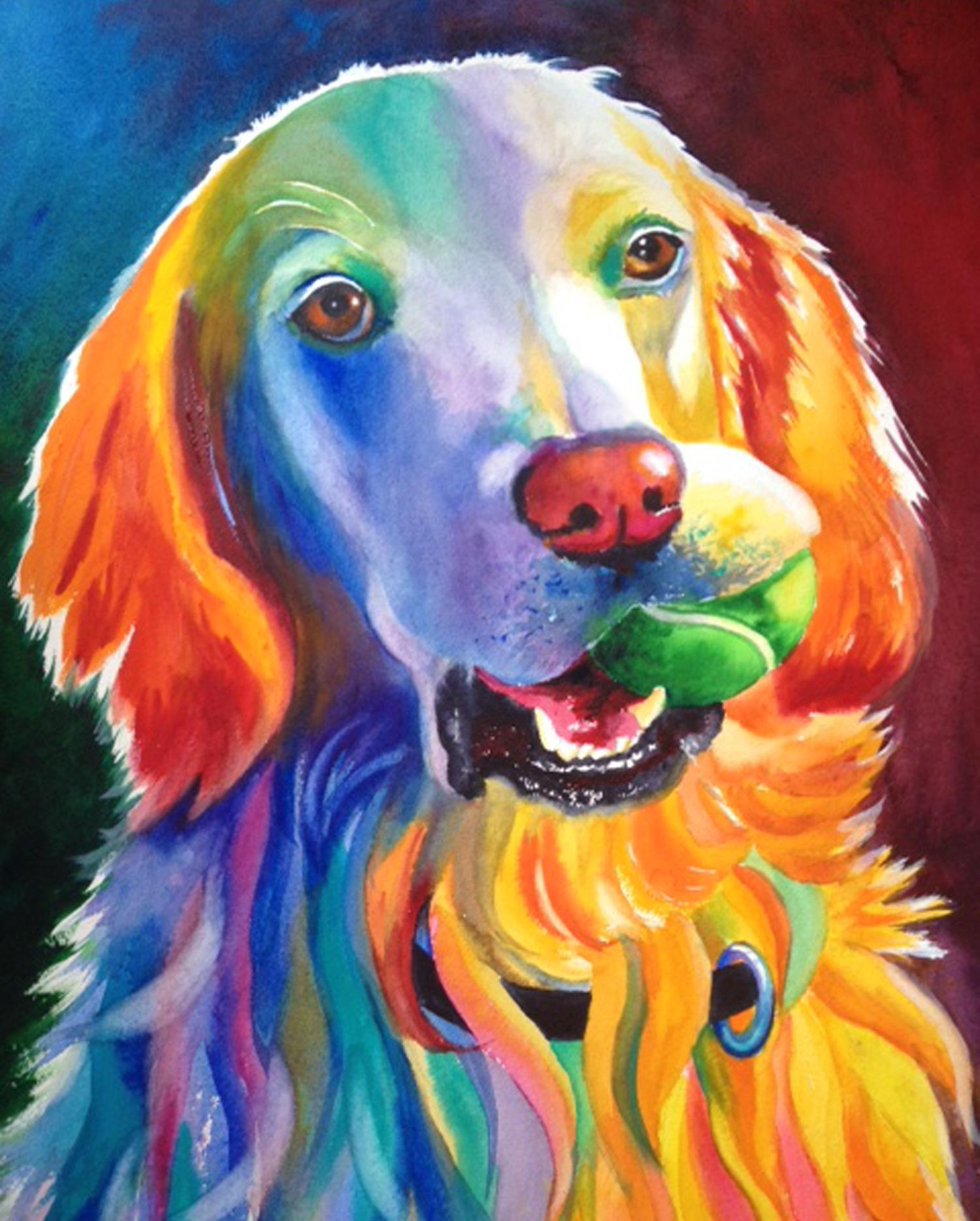 Multi-Color style example invibrant bright watercolor on Arches 130 lb.paper.