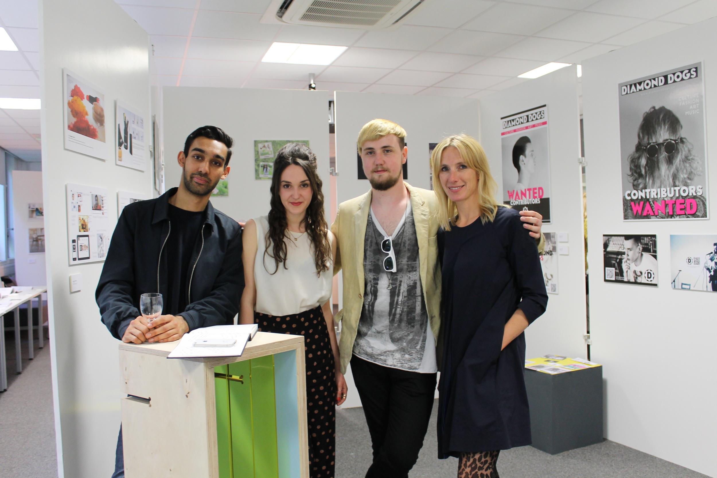 Students Ashwin Singh, Louisa Kimmins, Craig Ramsey with Programme Leader Amanda Bragg-Mollison (far right)