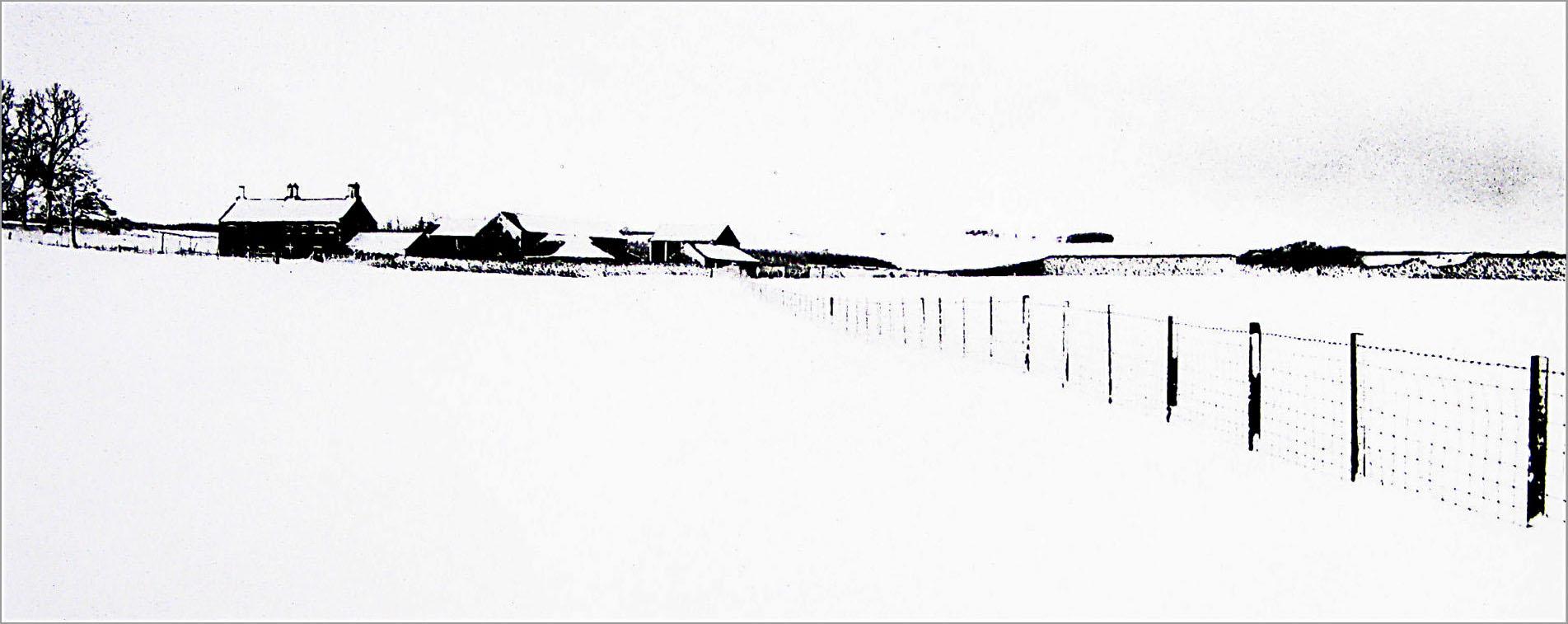 Farm under Heavy Snowfall