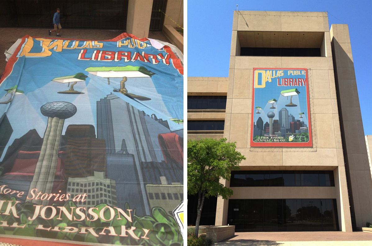 Final banner is 46 feet tall and over 30 feet wide. More about this project  here .