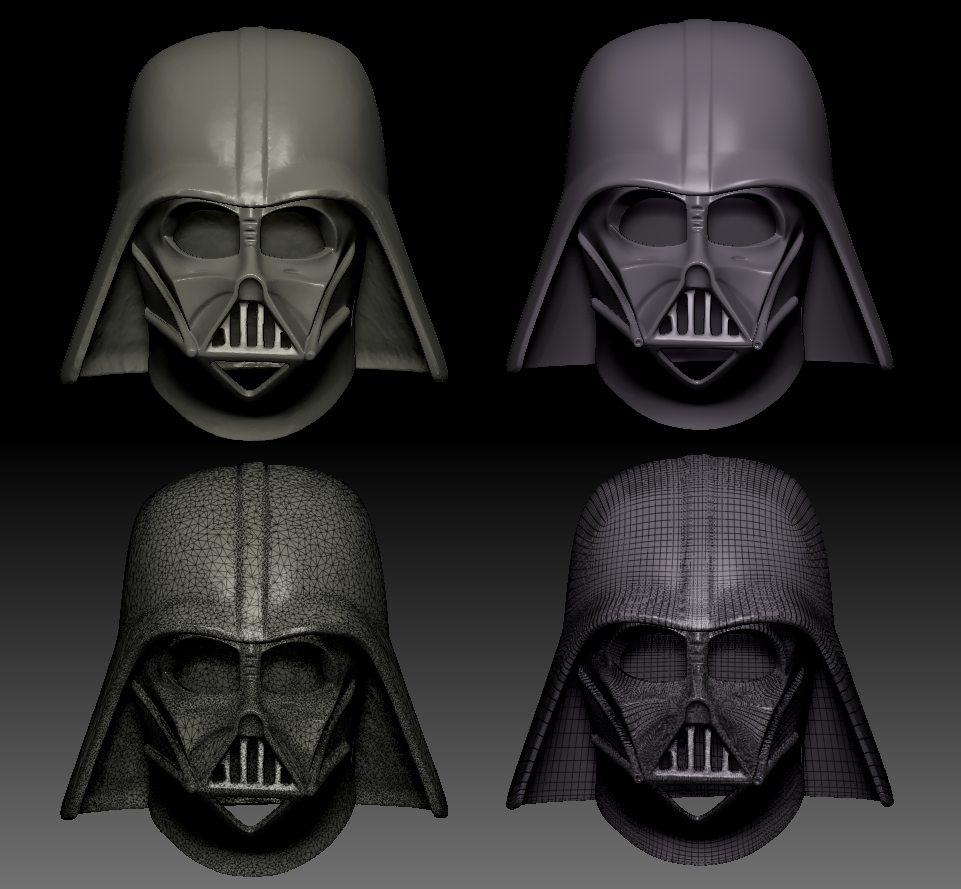 """Scan Clean up.Used ZBrush to fix and retopologize scan data of original ESB helmet provided by client then divided mesh to resemble ROTJ """"reveal"""" helmet. Resulting model used for prototype of client's cosplay product concept. (Some lumpiness and asymmetry remains per client's request for fidelity.)"""