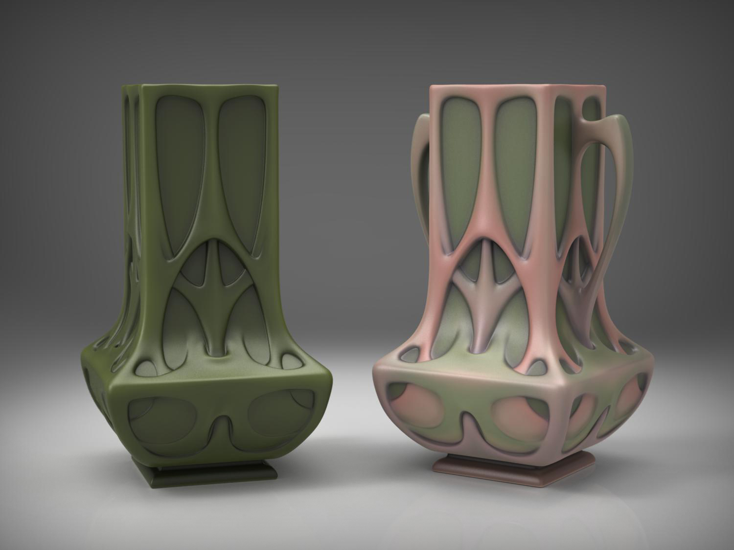 Art Nouveau vases inspired by Hector Guimard & Roseville pottery.Modeled in Maya, textured in ZBrush, rendered in KeyShot.