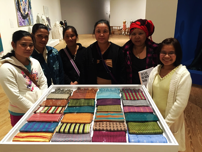 Our Burmese weavers along with their art. (Pictured left to right: Naw Paw, Shay Lay Paw, Pu Pu, Day Moo, Poe Meh, Tee Mo)