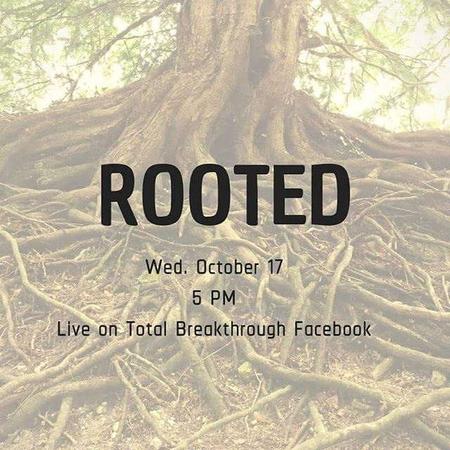 """ROOTED 🌳 . ➡️ Join us starting WED. OCT 17 at 5 PM EST. on Total Breakthrough FB Live! . As we follow Christ, our faith will begin to mature and in essence, our roots will go down deep in our relationship with God. This is what God wants for us as His disciples- to have our spirit be so rooted and grounded in His love, purpose, and mission for our lives. . WHAT IF we allowed God to transform our entire heart and life? . WHAT IF we surrendered- every ounce of our past, present, and future and allowed God by His Spirit to do a deep inner healing in our heart? . Could you imagine the freedom, purpose, and plans He will lead you to? God wants to infuse you with purpose and passion, walking confidently as His child. Not defeated by the weight of sin, guilt, and shame, but empowered to walk in victory and leading others to victory as well. . Let us all invite God into every crevasse of our heart so we can be free and live the life He created us for. . [[[""""I pray that out of his glorious riches he may strengthen you with power through his Spirit in your inner being, so that Christ may dwell in your hearts through faith. And I pray that you, being rooted and established in love, may have power, together with all the Lord's holy people, to grasp how wide and long and high and deep is the love of Christ, and to know this love that surpasses knowledge—that you may be filled to the measure of all the fullness of God.Now to him who is able to do immeasurably more than all we ask or imagine, according to his power that is at work within us, 21 to him be glory in the church and in Christ Jesus throughout all generations, for ever and ever! Amen."""" Ephesians 3:16-21]]]"""