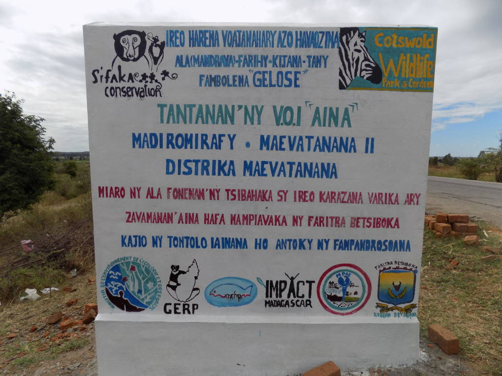 New signs announce the conservation activities taking place in the forest.