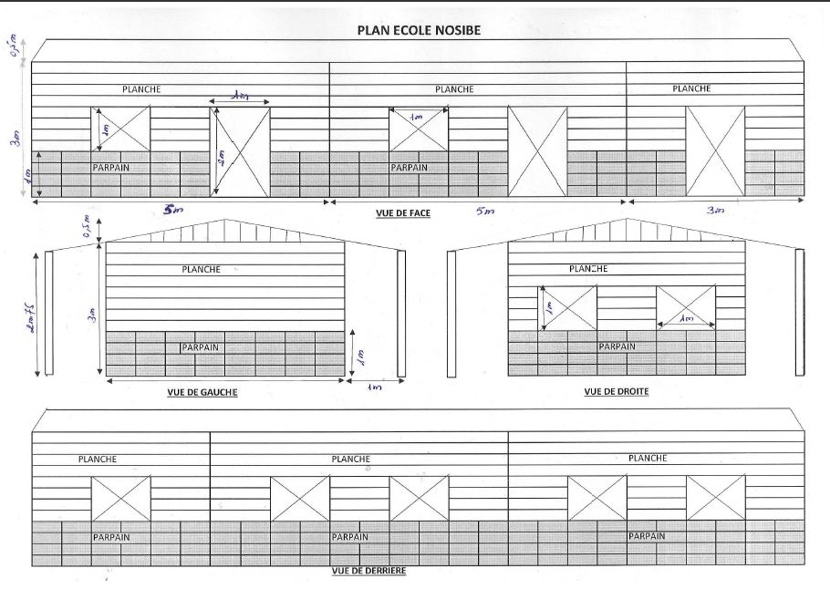 Plans for the main school building. A library, shelter for outdoor activities, and appropriate bathroom facilities will also be constructed .