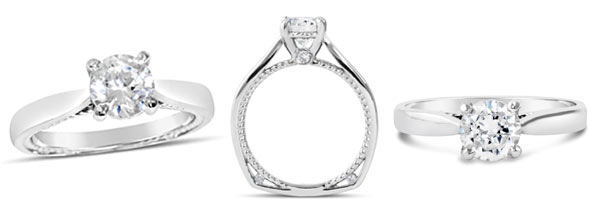 Be inspired by this diamond solitaire engagement ring that delights and surprises with its twisted rope side detailing.