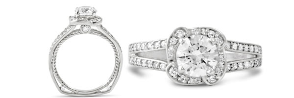 The chic and stylish Devotion ring features a flower-inspired halo, a split diamond band, and a twisting rope design profile.