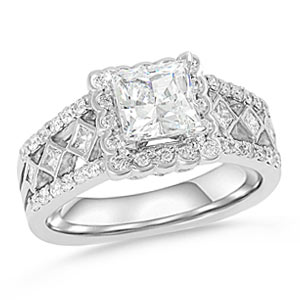 10. Vintage meets modern with this ornate princess cut halo engagement ring.