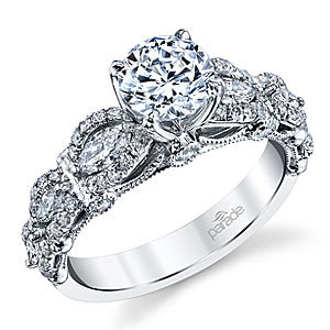 5. Marquise diamonds and scalloped ridges combine to form this breathtaking Parade Designs engagement ring.