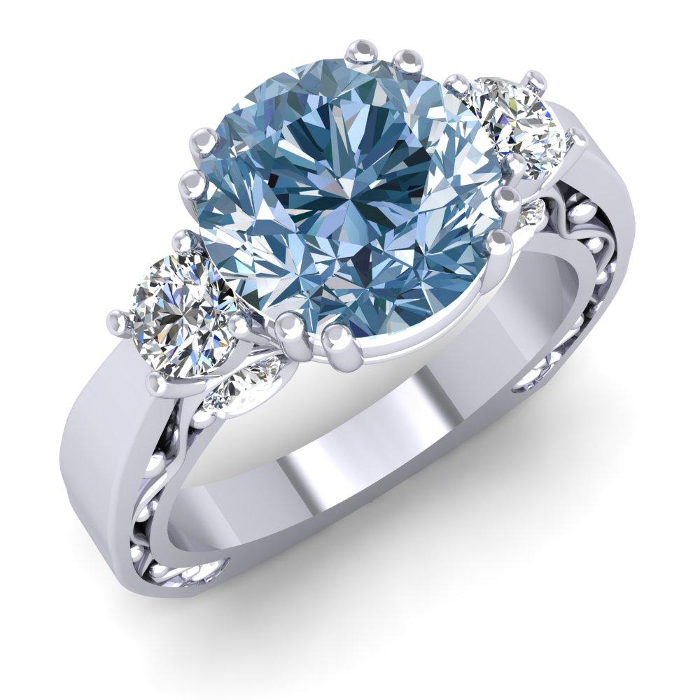 Aquamaring Engagment Ring Modern Fligree Diamond.jpg