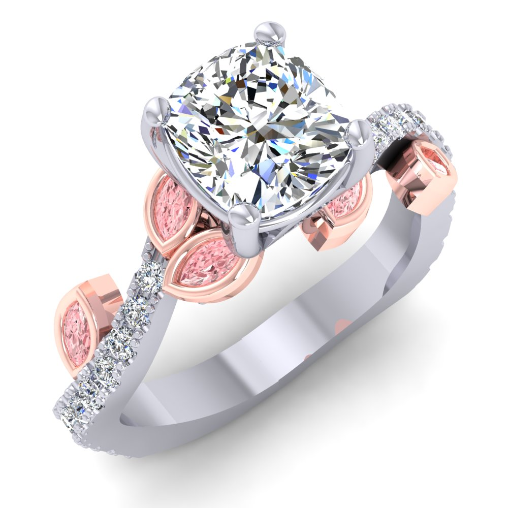 Cushion Diamond Engagement Ring Rose Gold Accents Pink Marquise Diamonds Pave.jpg