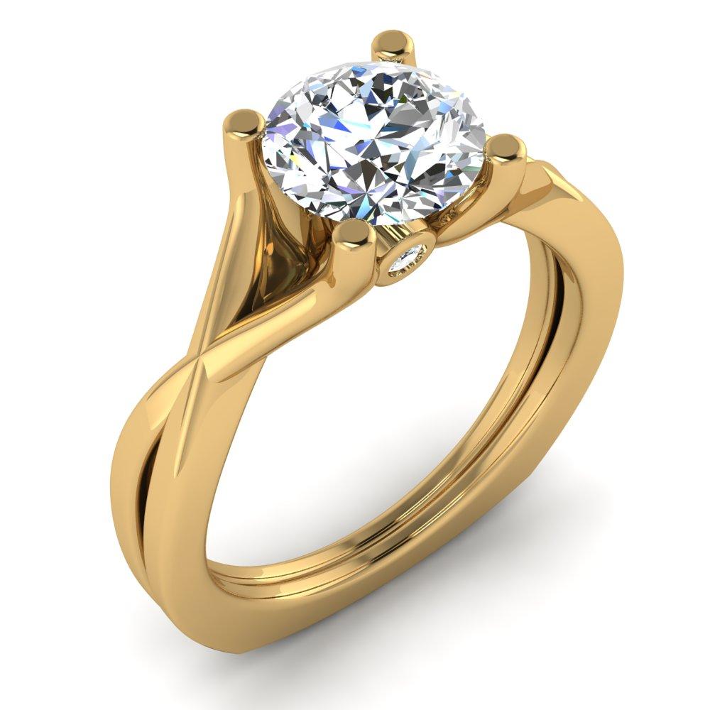 Modern Solitaire Engagment Ring Yellow Gold Round Diamond.jpg