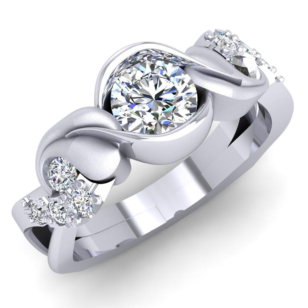 Modern Engagement Ring Leaf Round Brilliant Diamond White Gold.jpg
