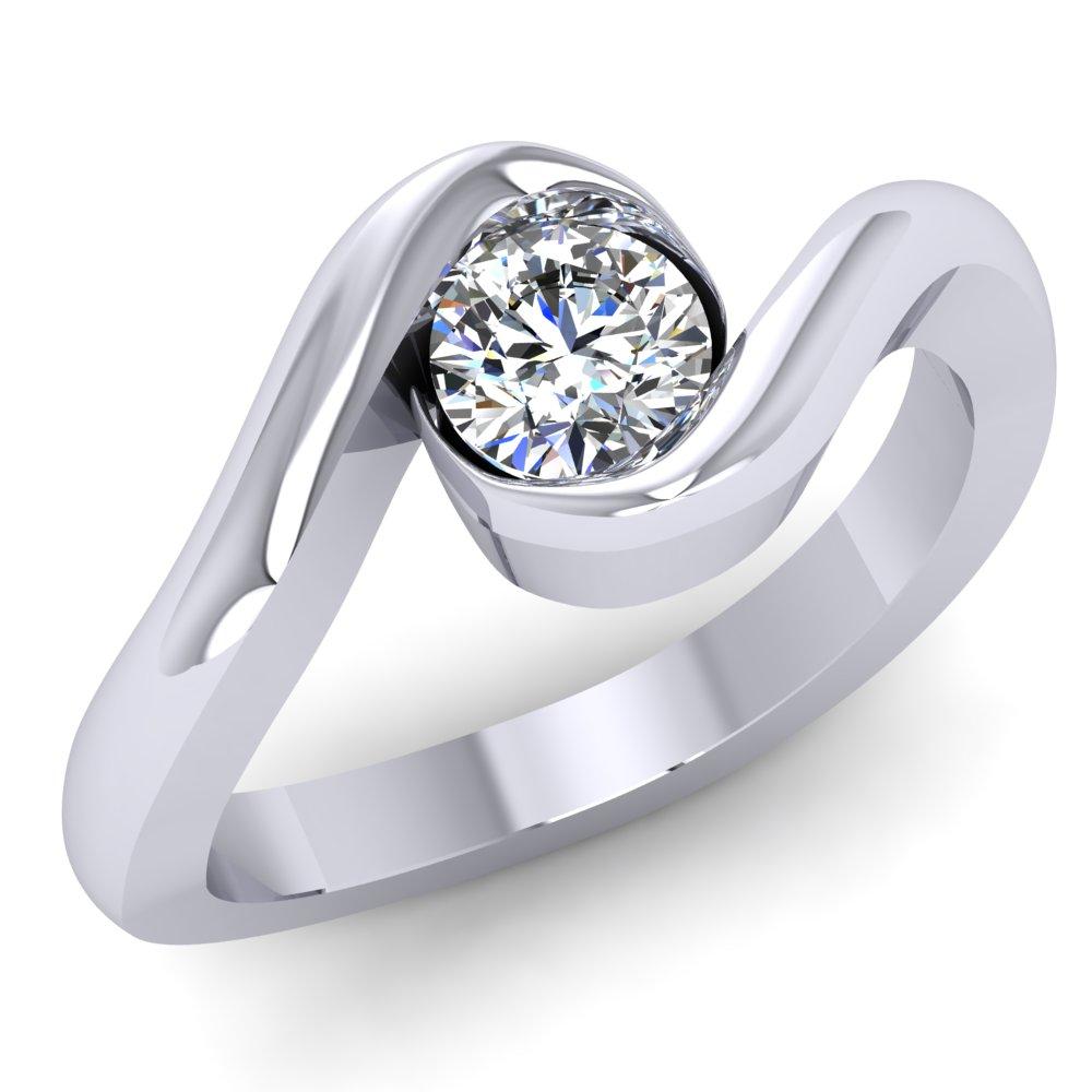 Modern Twist Solitaire Engagment Ring Platinum White Gold Swirl Symmetrical.jpg
