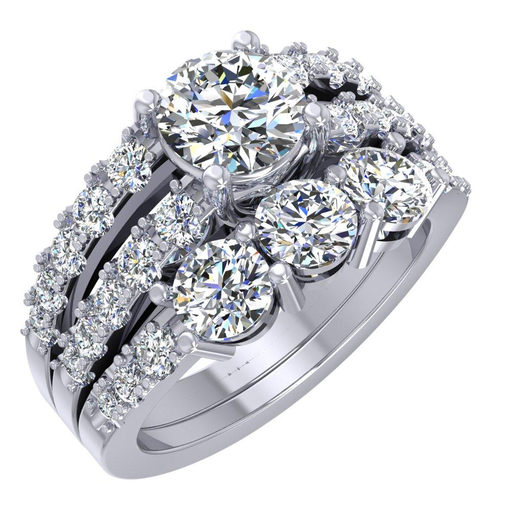 Pave White Gold Engagement Ring Three Diamond Wedding Band Split Shank.jpg