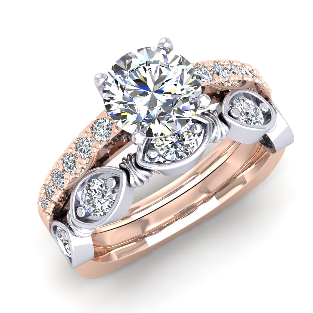 Rose Gold White Gold Two Tone Engagement Ring Round Brilliant Modern Unique Pave.jpg