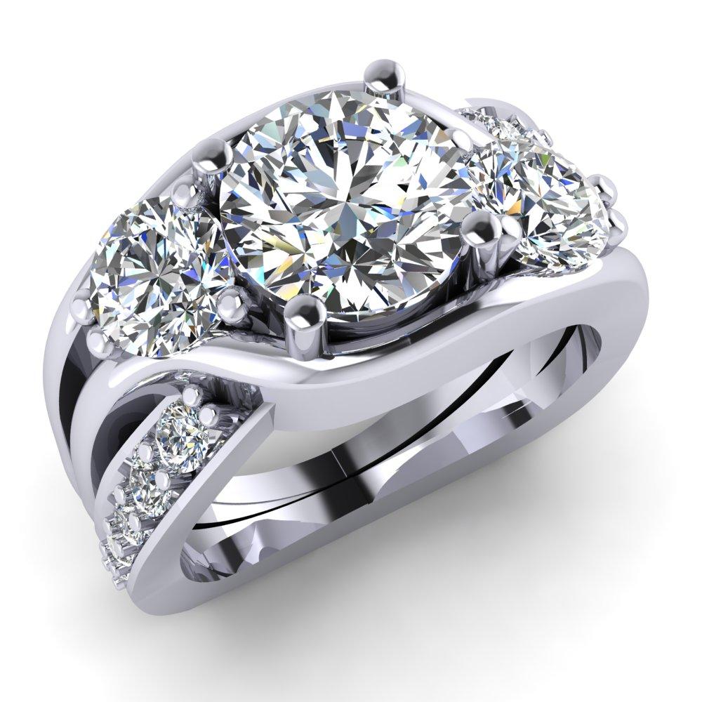 Three Diamond Engagment Ring Pave White Gold Modern Freeform Unique.jpg